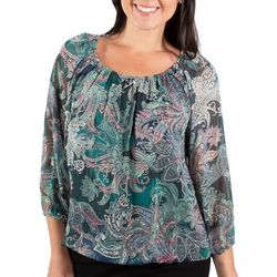 NY Collection Womens Bubble Sleeve Top