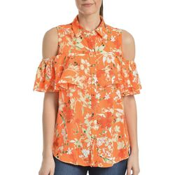 NY Collection Womens Floral Short Sleeve Blouse