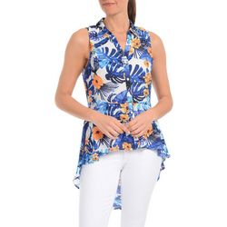 NY Collection Womens Tropical Sleeveless Blouse