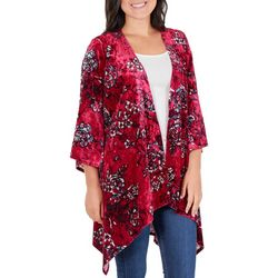 NY Collection Womens Floral Velvet Duster Cardigan