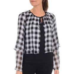 NY Collection Gingham Long Sleeve Blouse