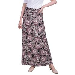 NY Collection Womens Printed Ring Detail Maxi Skirt