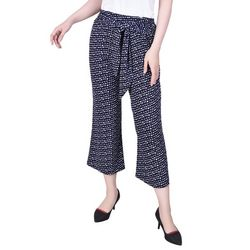 NY Collection Womens Printed Tie Sash Cropped Pants