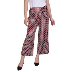 NY Collection Womens Faux Belt Cropped Pants