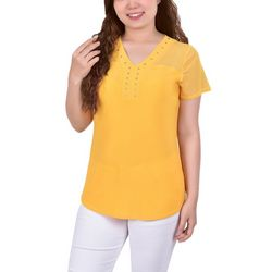 NY Collection Womens Mesh Sleeve & Studded Neck Blouse
