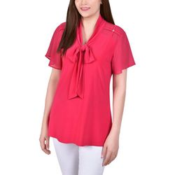 NY Collection Womens Mesh Sleeve & Tie Neck Blouse