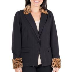 NY Collection Womens Faux Fur Trim Ponte Blazer