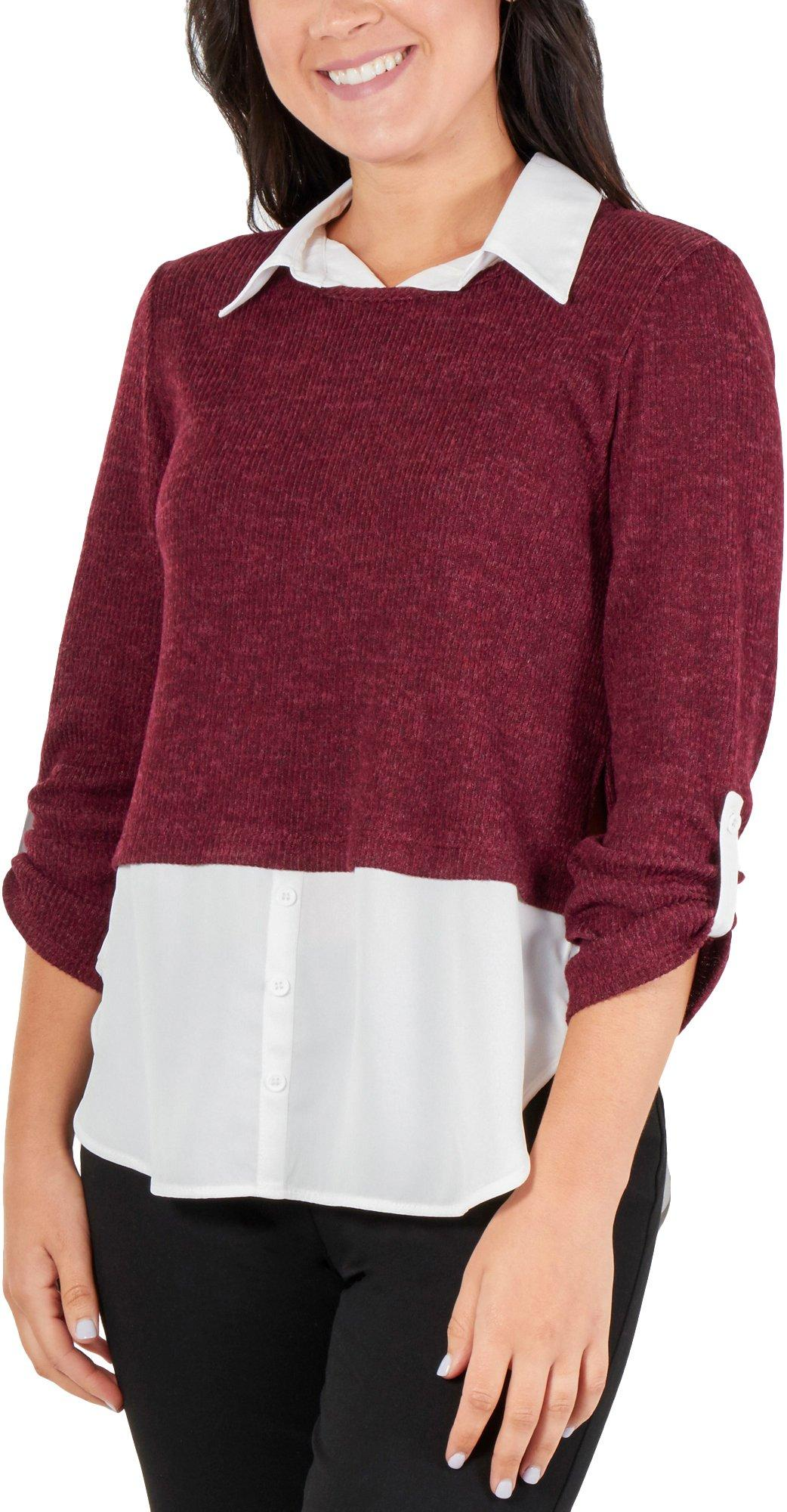NY Collection Womens Layered Pullover Knit Blouse