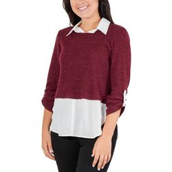NY Collection Womens Faux Layered Rib Knit Top