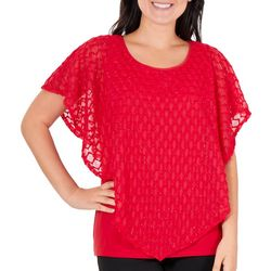 NY Collection Womens Lurex Poncho Layered Top