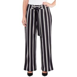 NY Collection Womens Stripe Tie-Front Faux Wrap Pants