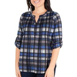 NY Collection Womens Plaid Pintuck Henley Top