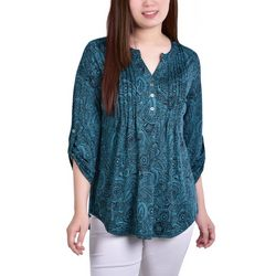 NY Collection Womens Roll Tab Sleeve Printed Blouse