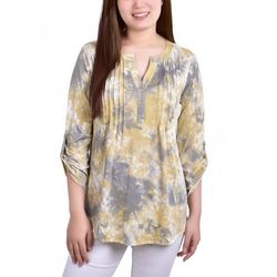 NY Collection Womens Pleated Front Roll Tab Sleeve Blouse
