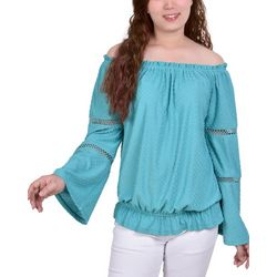 NY Collection Womens Swiss Dot Off The Shoulder Blouse