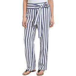 NY Collection Womens Stripe Linen Pull-On Pants