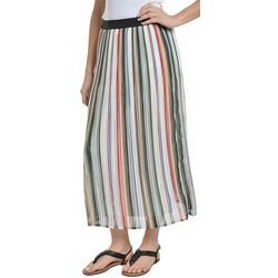 NY Collection Womens Stripe Pleated Midi Skirt