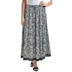 NY Collection Womens Paisley Tiered Maxi Skirt