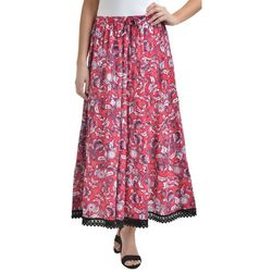 NY Collection Womens Floral Tiered Maxi Skirt
