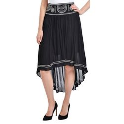 NY Collection Womens Embroidered High Low Skirt
