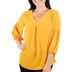 NY Collection Womens Pintuck Sleeve High-Low Blouse
