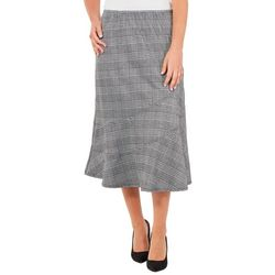 NY Collection Womens Plaid Diagonal Seam A-Line Skirt