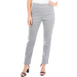 NY Collection Womens Plaid Split Waist Slim Fit Pants