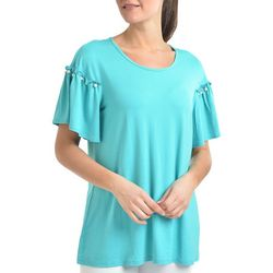NY Collection Womens Pearl-Studded Bell Sleeve Top