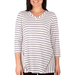 NY Collection Womens Striped 3/4 Sleeve Top