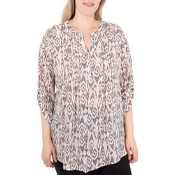 NY Collection Womens Geometrical 3/4 Sleeve Roll-Tab Blouse
