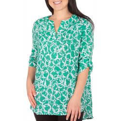NY Collection Womens Geometrical 3/4 Sleeve Blouse