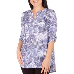 NY Collection Womens Tribal 3/4 Sleeve Blouse