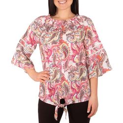 NY Collection Womens Paisley Bell Sleeve Peasant Top