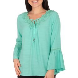 NY Collection Womens Crochet Trim Blouse