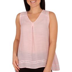 NY Collection Womens Sleeveless Beaded Blouse