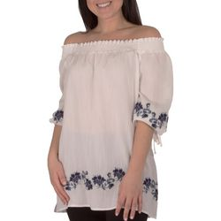 NY Collection Womens Embroidered Peasant Blouse
