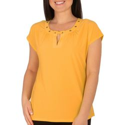 NY Collection Womens Cap Sleeve Gromment Top