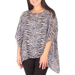 NY Collection Womens Zebra Chiffon Poncho