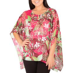 NY Collection Womens Floral Chiffon Poncho