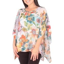 NY Collection Womens Floral Beaded Neckline Chiffon Poncho