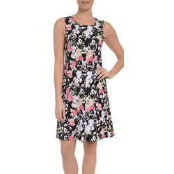 NY Collection Womens Floral Fit & Flare Dress