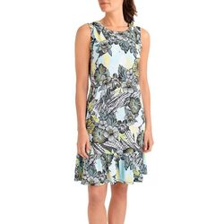 NY Collection Womens Ruffle Hem A-Line Dress
