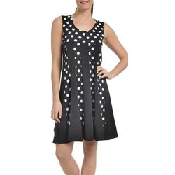 NY Collection Womens Polka Dot Fit & Flare Dress