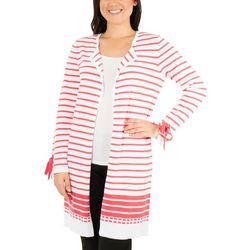 NY Collection Womens Tie Sleeve Striped Cardigan