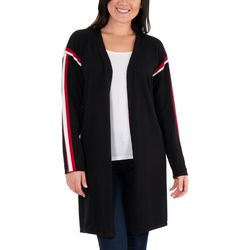 NY Collection Womens Racer Stripe Cardigan