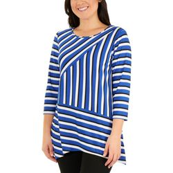 NY Collection Womens Striped Shark Bite Hem Top