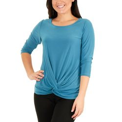 NY Collection Womens Twist & Tie Front Top