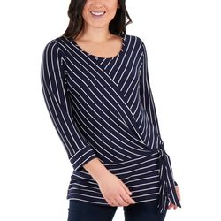 NY Collection Womens Striped Side Tie Top