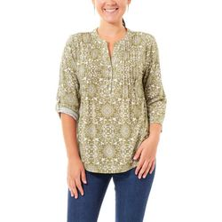 NY Collection Womens Medallion Pleated Front Top