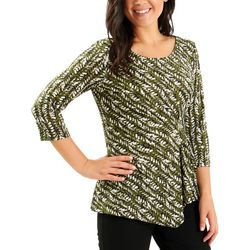 NY Collection Womens A-Symmetrical Pleated Top